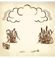 clouds and reeds brown vector image