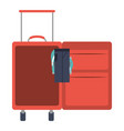 color silhouette with opened suitcase of traveler vector image