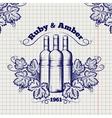 Winery emblem sketch design vector image
