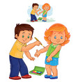 little boy paints a paint on a little girl vector image