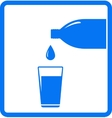 falling water drop bottle and glass vector image vector image