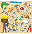 African-American carpenter with tools vector image vector image