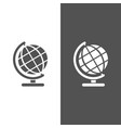 globe icon on black and white background vector image