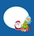 santa claus with granddaughter and christmas tree vector image