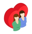 Two female and red heart isometric 3d icon vector image