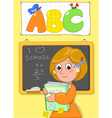 Cute school teacher vector image