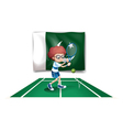 A tennis player in front of the flag of Pakistan vector image vector image