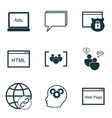 set of 9 seo icons includes conference digital vector image
