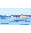 baby swims swimming lesson vector image