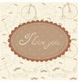 Romantic vintage Valentine invitation postcard vector image