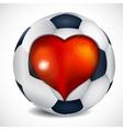 Heart and football ball vector image