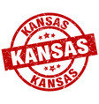 Kansas red round grunge stamp vector image