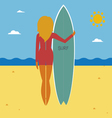 Sea and surfer vector image