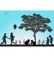 Silhouettes of children playing outside vector image
