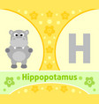 the english alphabet with hippopotamus vector image