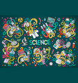 cartoon set of science theme doodles design vector image