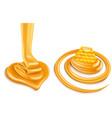 sweet honey flow creating heart shape vector image