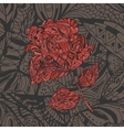 Floral Pattern with red Flower Rose vector image