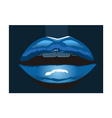 blue lips vector image vector image