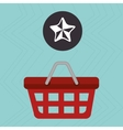 red basket and star isolated icon design vector image