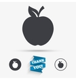 Apple sign icon Fruit with leaf symbol vector image