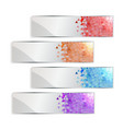 banner set with colored geometric pixel and shadow vector image