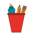 marker and pencil in cup vector image