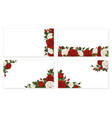 paper sheet red white rose flowers vector image