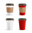 Red and White Paper Coffee Cup Set vector image