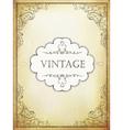 Vintage label with ornamental frame on aged bveige vector image