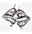 Sexy woman lips kissing vector image