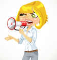 Cute blond girl shouts in a megaphone vector image vector image