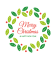 christmas card with christmas wreath vector image vector image