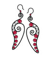 Pair of long feather earrings vector image