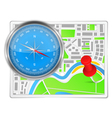 Abstract map with compass and push pin vector image