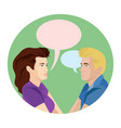 man and woman chatting in vector image