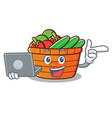with laptop fruit basket character cartoon vector image