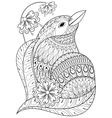 Zentangle exotic bird in flowers Hand drawn vector image