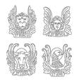 Four evangelists line symbols vector image vector image