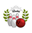 emblem bowling game icon vector image