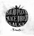 tomato cutting scheme vector image