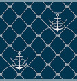 nautical rope seamless fishnet and anchors pattern vector image