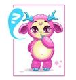 Cartoon cute pink monster vector image