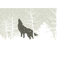 wolf howls in winter woods vector image