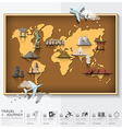 Travel And Journey World Map With Famous Landmark vector image