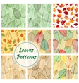 Leaves seamless patterns vector image