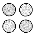 set of four tree rings icons vector image