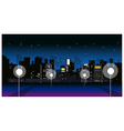 City Skyline night street vector image vector image