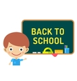 Back to school background Cute cartoon boy and vector image