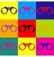 Binocular sign Pop-art style icons set vector image